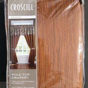 """Croscill Drapery Callisto Gold 82"""" x 84"""" New"""
